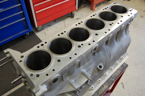Cylinder block with liners fitted, pressure tested, bored and honed to 4.2 liter. Final cleaning required before assembly.